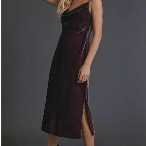 NWT Anthropologie Scarlett Velvet Bias Dress
